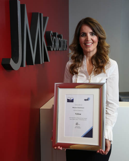 Maurece Hutchinson, Managing Director of JMK Solicitors, is awarded a Fellowship from the Association of Personal Injury Lawyers.