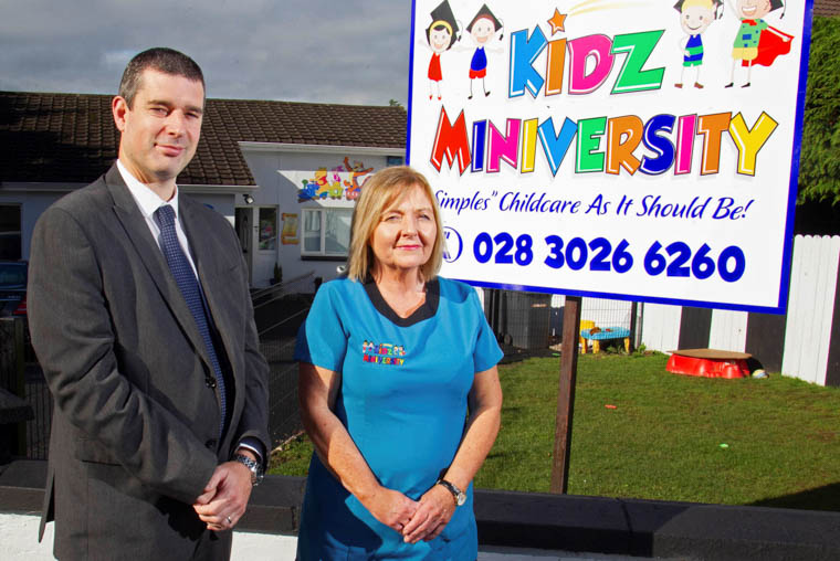 Philip McNeill, Business Development Manager at Ulster Bank pictured with Kidz Miniversity Co-owner and manager Deirdre Conlon.