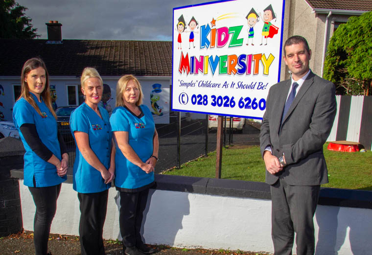 Philip McNeill, Business Development Manager at Ulster Bank pictured with Natasha Harte, Michelle Mooney and Deirdre Conlon from Kidz Miniversity.