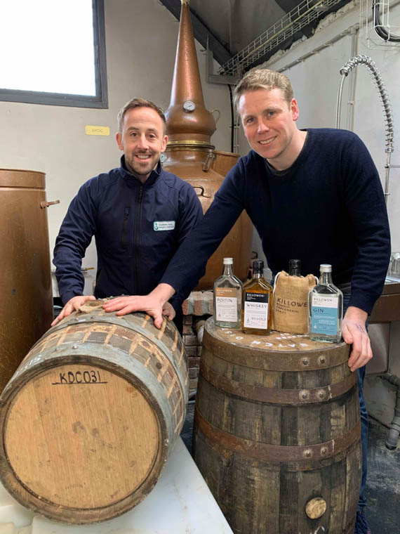 Pictured with the barrel are Brendan Carty, Killowen Distillery and James McCaffrey, Southern Area Hospice.