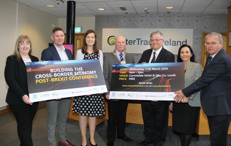 Pictured at the launch of conference at InterTradeIreland HQ in Newry are Riona McCoy, Senior Enterprise Development Officer at Local Enterprise Office Louth, Aidan Callan, Network Manager at Dundalk Chamber Skillnet, Jessica Kane, Chamber Development Executive at Newry Chamber, Cllr. Charlie Casey, Chairperson of Newry, Mourne and Down District Council, Paddy Malone, Dundalk Chamber, Deirdre Maguire, Brexit Manager at InterTradeIreland and Colm Shannon, CEO of Newry Chamber.