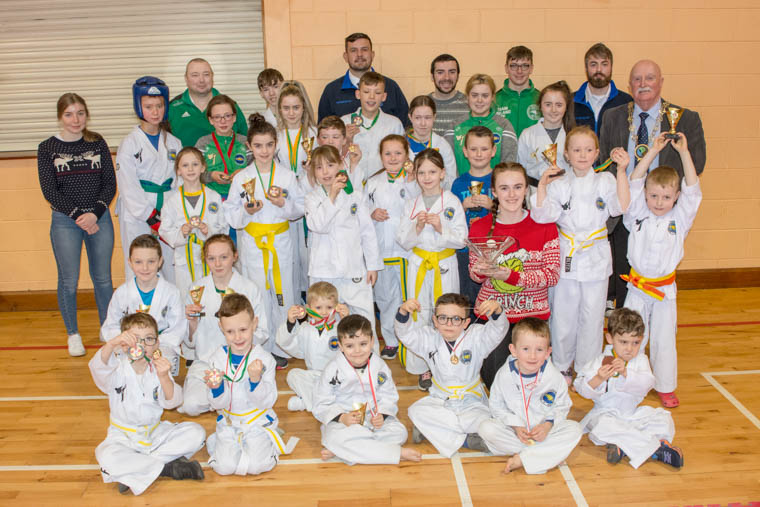 Newry, Mourne and Down District Council Chairperson, Councillor Charlie Casey presented an engraved bowl on behalf of the Council to the Cathal Fegan Schools of Tae Kwon Do Newry and Silverbridge clubs, in acknowledgment of their outstanding success at the Tae Kwon Do Federation European Championship and European Cup Competition.