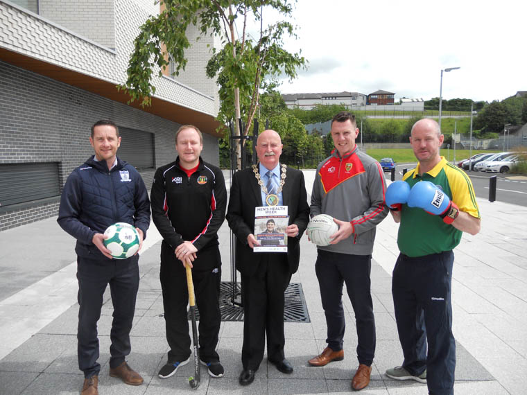 Local sporting personalities support Men's Health Week with Newry, Mourne and Down District Council Chairperson, Councillor Charlie Casey. L-R: Darren Mullen, Jeremy Greer, Newry, Mourne and Down District Council Chairperson, Councillor Charlie Casey, John Clarke and Adrian Patterson.