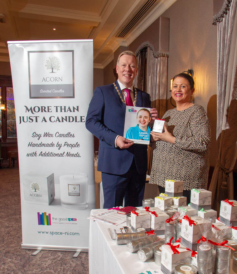 President, Paul Convery with Julie Clydesdale , Space – NI.