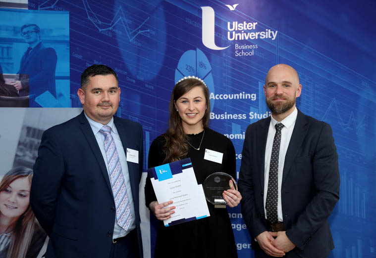 BSc Hons Human Resource Management graduate, Grace Howlett from Newry presented with the Lynas Foodservice Award by John Paul Shiels, Lynas Foodservice (left) and Ian Smyth, Ulster University Business School (right)