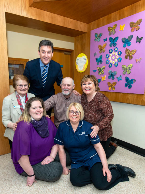 Pictured with the new artwork at Daisy Hill Hospital to commemorate organ donors, are Ronan Carroll, Assistant Director of Acute Services, Sr Marie Slacke, Southern Trust Chaplaincy Team, Jim Henry, Jennifer Malone, Linda Henry and Edel Livingstone, Specialist Nurse for Organ Donation for the Southern Health and Social Care Trust.