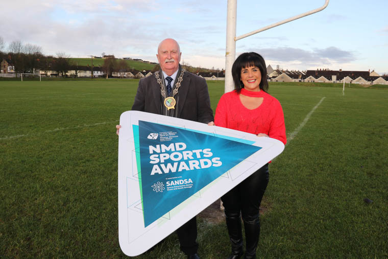 Calling for nominations for the NMD Sports Awards 2020 are Newry, Mourne and Down District Council Chairperson, Councillor Charlie Casey with Elena Martin, Chairperson of the Slieve Gullion SANDSA Forum.