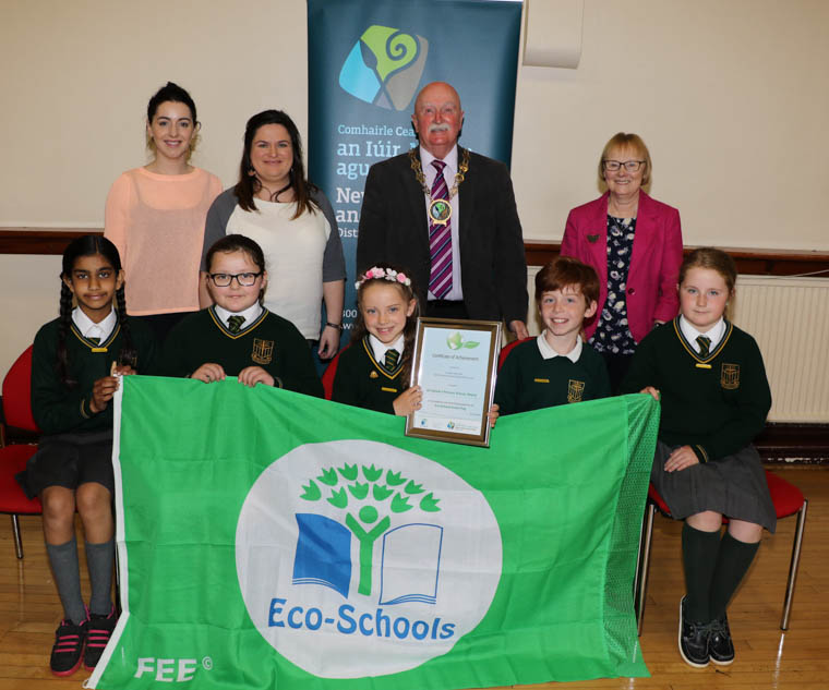 St. Patrick's Primary School Newry received their first Green Flag at the Annual Eco-Schools Green Flag Ceremony in Warrenpoint Town Hall. Back row l-r School  Eco Co-ordinators Clara Scullion and Cathy Fitzpatrick, Chairperson Newry, Mourne and Down District Council, Councillor Charlie Casey, Dorothy Corkin Eco-Schools Assessor, front row pupils Akshara Sauvant, Jessi-Mai White, Chloe Spencer-Freer, Ethan Quinn, Niamh Larkin Eco School Council.