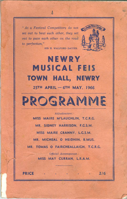 A Newry Musical Feis programme from 1966.
