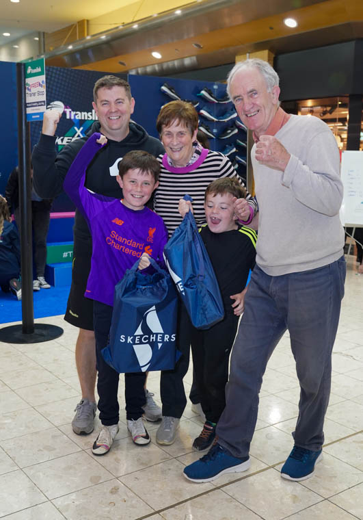 Jim and Catherine Moan with their grandsons Joe (9) and Tom (5) Rice and son in law Noel Rice after completing the step up challenge (all from Saval in Newry). Photo by Aaron McCracken
