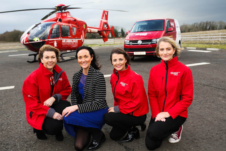 firmus energy has chosen Air Ambulance NI as its nominated 'Charity of the Year'. Pictured (L-R): Denise Curran, Financial Director, firmus energy, Kerry Anderson, Head of Fundraising, Air Ambulance NI and Rochelle Magee, firmus energy's charity ambassador and Caroline Kelly, Marketing Officer, firmus energy.