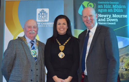Cllr Charlie Casey – Chairperson Newry Mourne and Down District Council,  Emma Marmion - Newry Chamber of Commerce & Trade President, Brian Doran – SRC Chief Executive at the Big Apprenticeship event in the SRC.