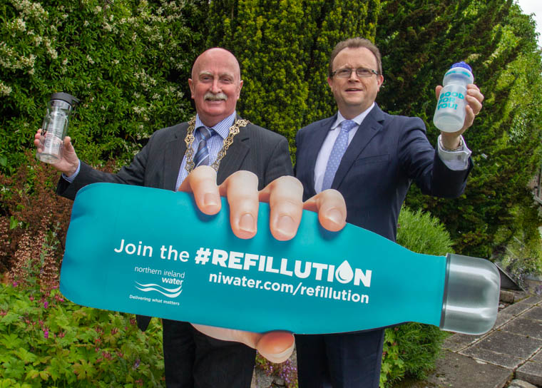Newry, Mourne and Down District Council Chairperson, Councillor Charlie Casey with Ronan Larkin, NI Water Director of Finance and Regulation.