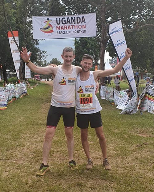 Robbie Marsh with Jason Rustage at Uganda Marathon