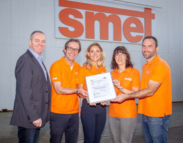 SMET Management team pictured receiving their latest BSI certificate from Leo Tinnelly, Client Manager at British Standards Institute. Included from left: Leo Tinnelly, Client Manager at British Standards Institute; Joris Smet, Managing Director; Deborah Smet, Marketing Manager; Colette Hood, Operations Manager; Richard Nummy, Transport Manager. Photograph: NewRayPics.com