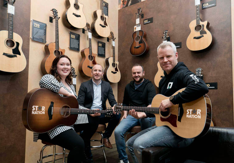 From left: Christina Hamilton of Four Star Pizza joined Ronan O'Hagan of Molson Coors Ireland, John Paul Prior of MusicMaker music store and Niall McMonagle of Windmill Lane Recording Studios at the launch of 'Star Nation', a new all-Ireland music competition that gives aspiring songwriters and musicians a chance to win €3,000 of music gear, a recording session in one of Ireland's most famous studios and a chance to play a showcase gig at top Irish venue Whelan's in Dublin.