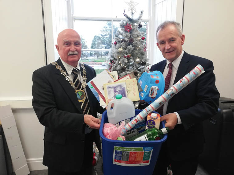 Encouraging residents across the district to recycle their festive waste this Christmas are Newry, Mourne and Down District Council Chairperson, Councillor Charlie Casey with Liam Dinsmore, Head of Waste Processing, Enforcement and Business Support at Newry, Mourne and Down District Council.
