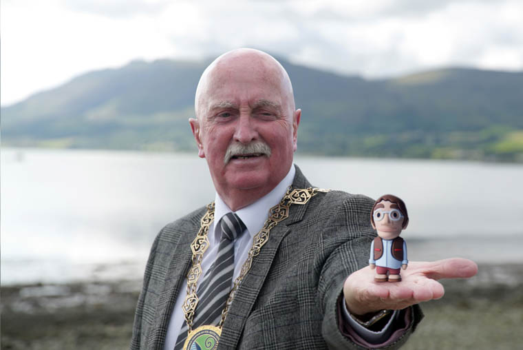 Chairperson of Newry Mourne and Down District Council, Councillor Charlie Casey was the first to get his hands on one of the limited edition mini-Finn models