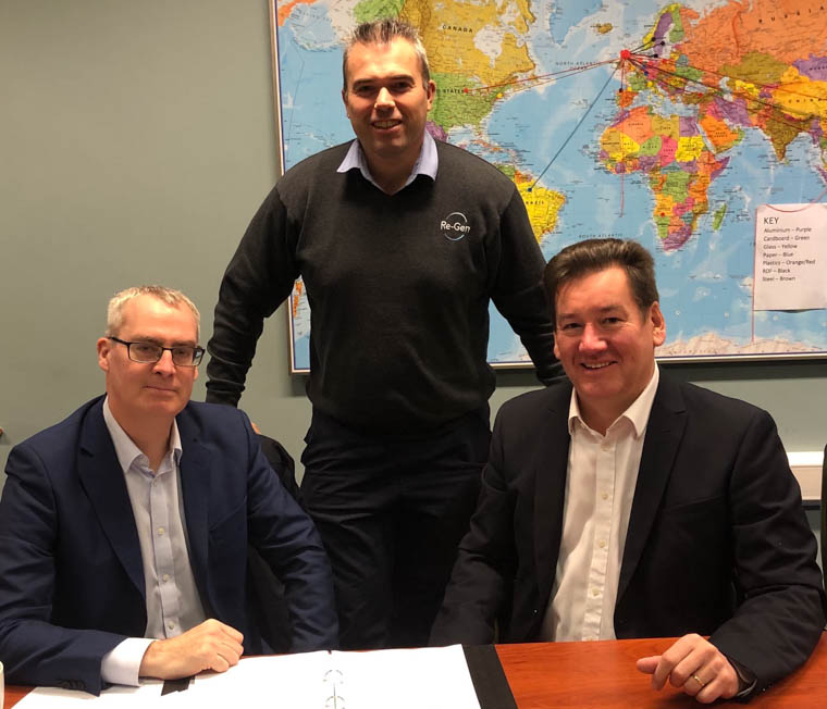 Kieran Grant, Finance Director of Warrenpoint Harbour with Joseph Doherty, Managing Director of Re-Gen and David Holmes, CEO of Warrenpoint Harbour agree a long term licence to ship products from the Port.
