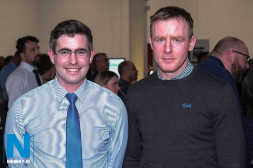 Gabriel McElvanna and Newry and Armagh MLA Justin McNulty at the official opening of Shelbourne Motors in Newry. Photograph: Columba O'Hare/ Newry.ie