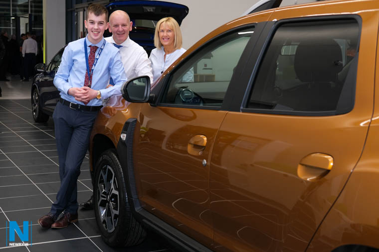Jordan Poucher, Shelbourne Motors with Chris Gorman, Kellys Point Hire and Lorraine Poucher, Pouchers Funeral Directors at the official opening of Shelbourne Motors new showroom in Newry. Photograph: Columba O'Hare/ Newry.ie