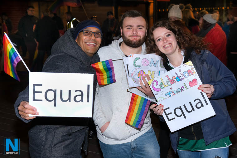 Visitors to Marcus Square in Newry to mark the introduction of Same Sex Marriage. Photograph: Columba O'Hare/ Newry.ie