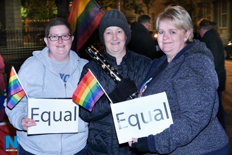 Celebrating the introduction of marriage equality at Midnight on Monday in Marcus Square, Newry. Photograph: Columba O'Hare/ Newry.ie