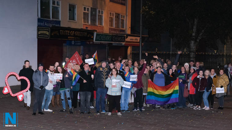 Gathering in Marcus Square, Newry at Midnight on Monday night to celebrate the introduction of marriage equality. Photograph: Columba O'Hare/ Newry.ie