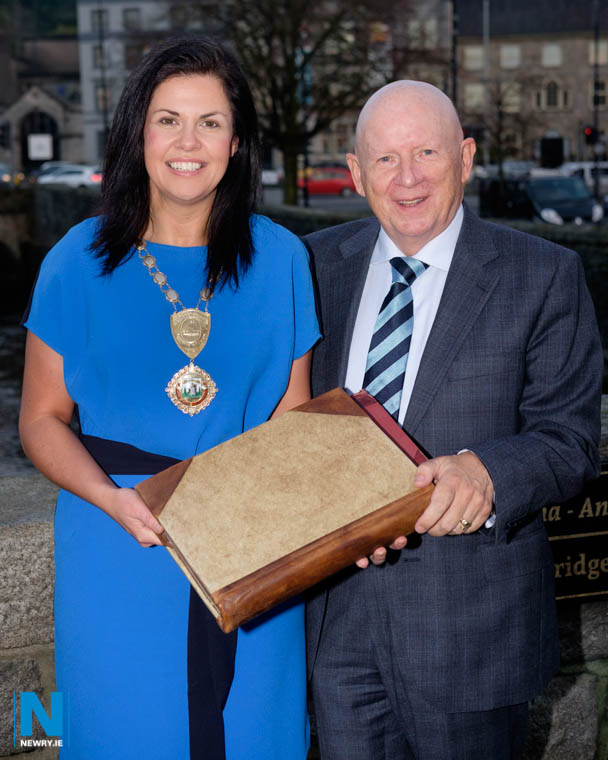 Emma Marmion, President, Newry Chamber of Commerce and former President, Michael McKeown are looking for your information on local businesses through the years for a new book due to be published later this year. Photograph: Columba O'Hare/ Newry.ie