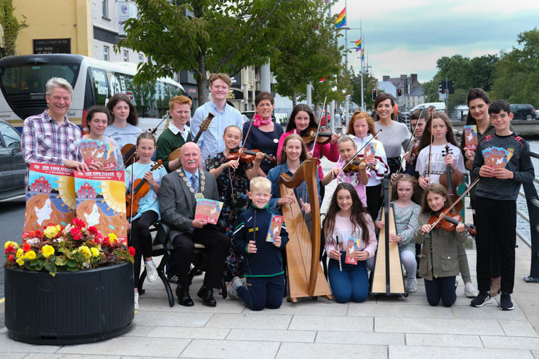 Cllr Charlie Casey, Chairperson, Newry, Mourne and Down District Council launches the 2019 Iúr Cinn Fleadh, along with musicians from Newry School of Traditional Music and Warrenpoint Comhaltas. Also included are sponsors and Iúr Cinn Fleadh committee members Claire Byrne, Clive Price and Michael McConville. Sponsors were represented by Cllr Casey, Newry, Mourne and Down Council; Nicole McAteer, Newry BID and Louise Young, Canal Court Hotel. Sponsors not in photograph include Buttercrane Shopping Centre, Enterprise, Bellinis, SocialClix.biz, Netcare and Newry.ie. Photograph: Columba O'Hare/ Newry.ie