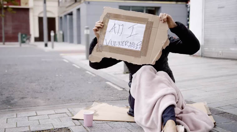 A still from one of the videos highlighting begging in Newry.