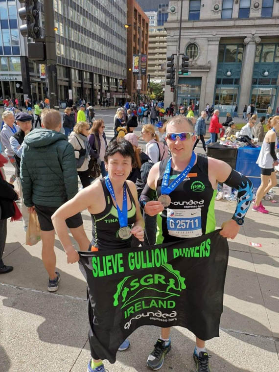SGR members Tina Crawley and David Rushe at the  Bank of America Chicago Marathon