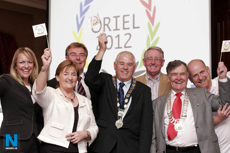 Cllr Geraldine Donnelly pictured at the launch of Oriel 2012 with Orla Jackson, Newry Chamber of Commerce & Trade; David Hanna, President of Newry Chamber of Commerce & Trade; Cllr Michael Cole, Mayor, Newry and Mourne District Council; Clr Frank Feeley, Newry and Mourne District Council; Jim Lennon, Cathairleach, Louth County Council and Paul McCormack, Manager, Oriel 2012. Photograph: Columba O'Hare/ Newry.ie