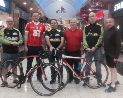 Pictured at the Craobh Rua Camlocha 'Hooley Round Cooley' Lauch in The Quays Newry. From left: Barry Fegan (Camlough Cycling Club) Joe McEldowney (Craobh Rua) Johnny Gallagher (Camlough Cycling Club) Labhras Bradley (Craobh Rua) Colin McCloskey (Camlough Cycling Club) and Pat McGinn (Craobh Rua)
