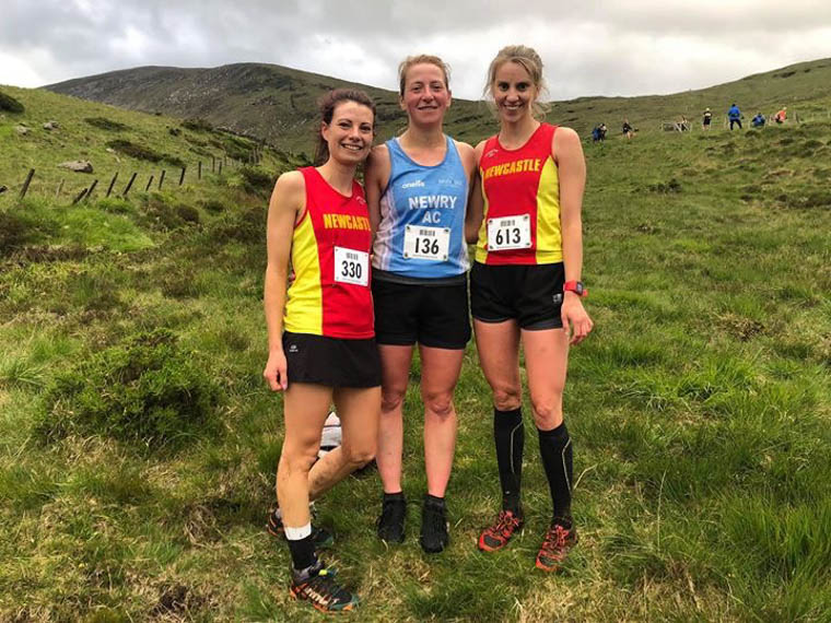 Esther Dickson (Middle) finishing as 1st lady in the Hill & Dales Meels Race on Thursday evening