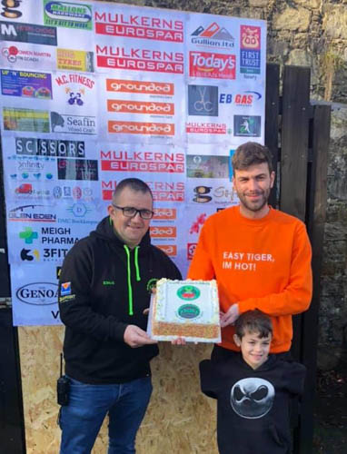 Slieve Gullion Runners celebrates 5yrs our founding member Dermot Winters with our club sponsor from the beginning Graeme Finegan of .Grounded Espresso Bars Newry