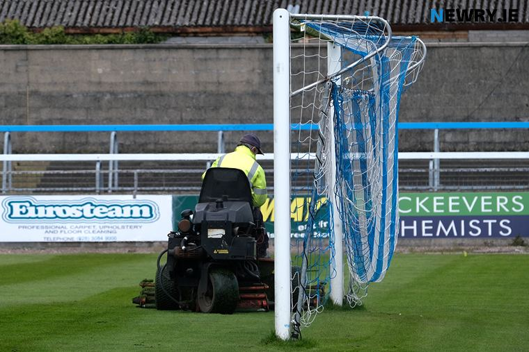 Cutting the grass at the Newry City AFC grounds. Photograph: Columba O'Hare/ Newry.ie