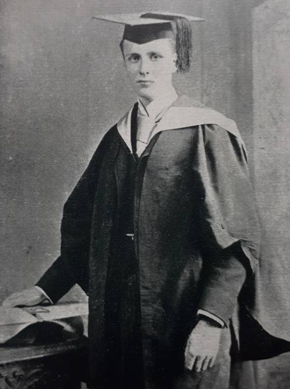 Joseph Barcroft pictured in 1891 when he graduated with a BSc from the University of London while still a pupil at The Leys School in Cambridge. From Joseph Barcroft 1872 – 1947 by Kenneth J. Franklin (Oxford, 1953).