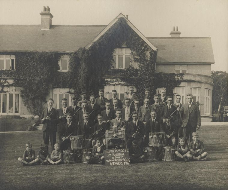 The Hunter Moore Memorial Flute Band, photographed at Moore Lodge after winning the prestigious All-Ireland Junior Flute Band Championship in September 1926 Newry and Mourne Museum Collection