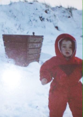 Stephen having fun in the snow when he was just two.