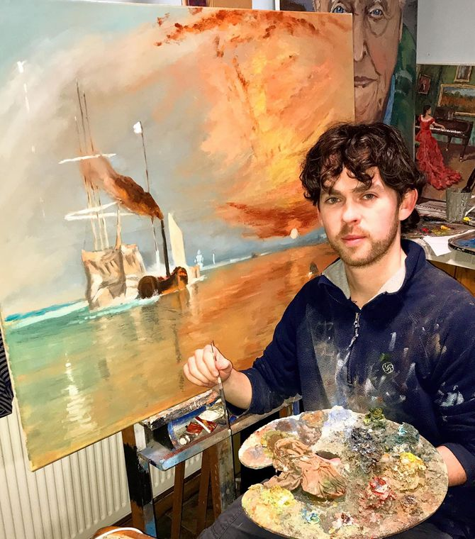 Stephen is  working on, recreating JMW Turners masterpiece, which he referred to as his darling, 'The Fighting Temeraire'