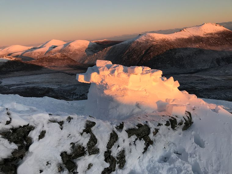 The finished igloo and what a view. Photograph: Stephen Rooney.