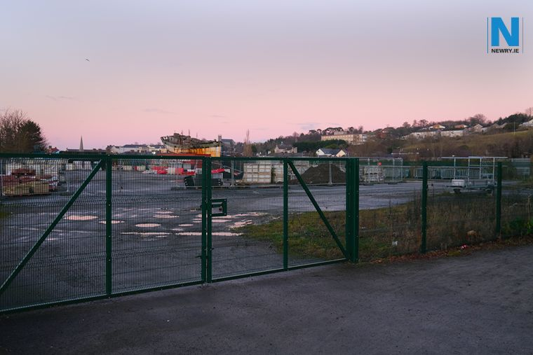 The site of the proposed park at the Albert Basin, used at present as a storage facility for council. Photograph: Columba O'Hare/ Newry.ie