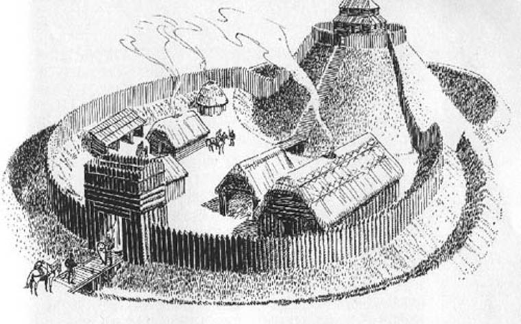 Artist's impression of a motte and bailey in the early 13th century. Newry and Mourne Museum Collection