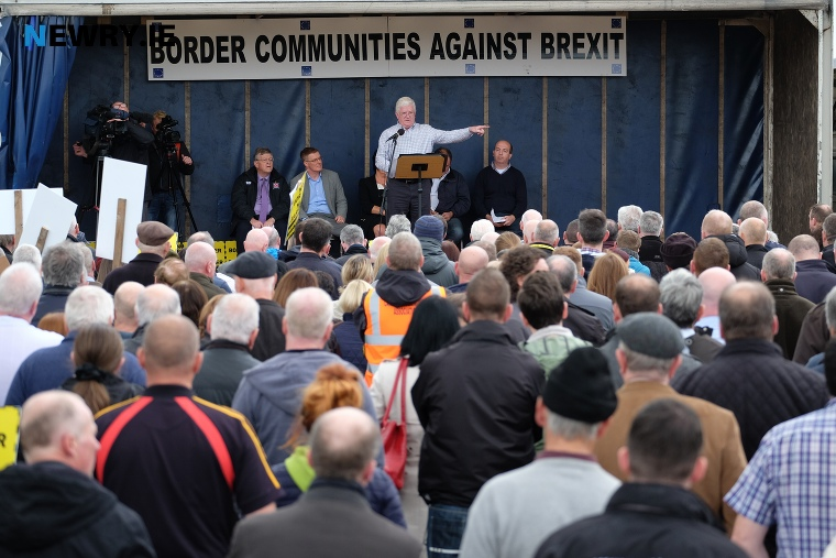 Declan Fearon speaking at the Brexit protest at Carrickcarnon. Photograph: Columba O'Hare