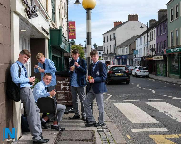 Back to school today for these St Colman's students after a five month break due to the Covid-19  pandemic. Photograph: Columba O'Hare/ Newry.ie
