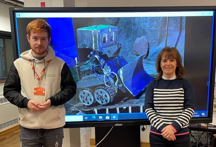 Christian pictured with his art and design lecturer Fidelma Logan, SRC Newry Campus