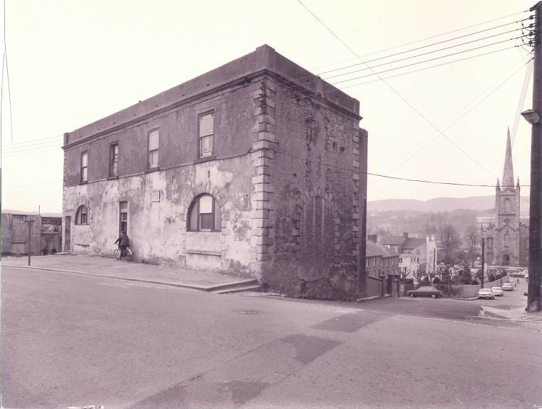 St. Colman's Hall (pictured c.1969 shortly before being demolished), where several Newry temperance societies met, with Hyde Market beyond where Father Matthew addressed a gathering of local people in 1840. Newry and Mourne Museum Collection