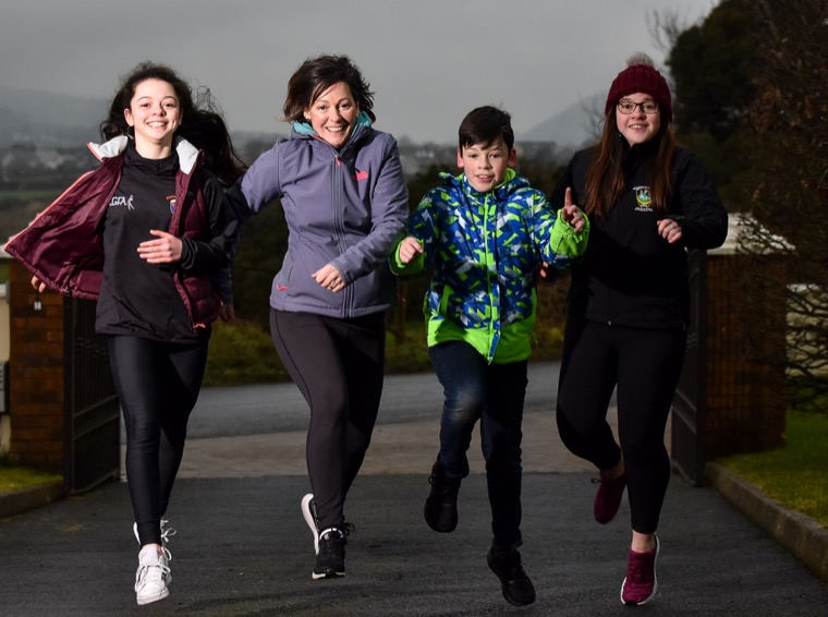 Siobhan Reel and kids Clodagh, Aaron and Maeve pictured on day one of the Armagh LGFA 100km in 28 days virtual fitness challenge. Picture  Brendan Monaghan