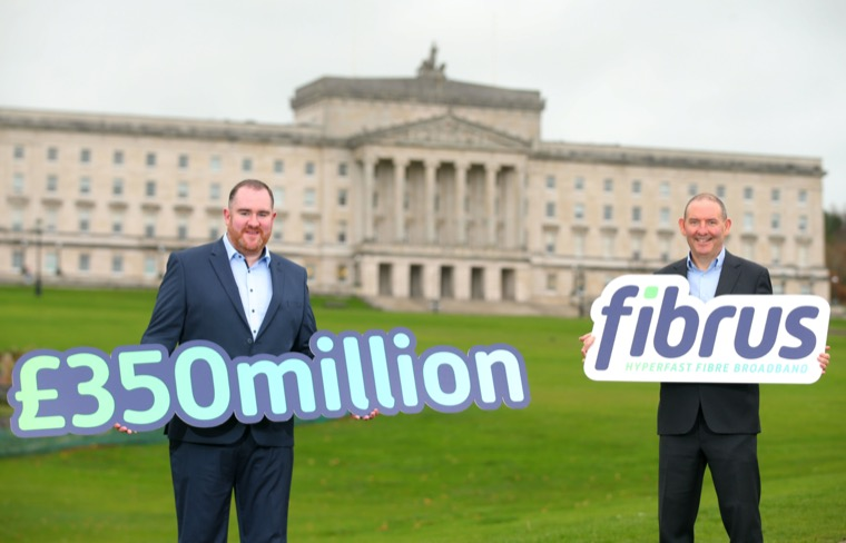 Fibrus Chief Executive, Dominic Kearns and Chair Conal Henry at the Project Stratum announcement at Stormont last week.
